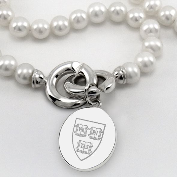 Harvard Pearl Necklace with Sterling Silver Charm - Image 2
