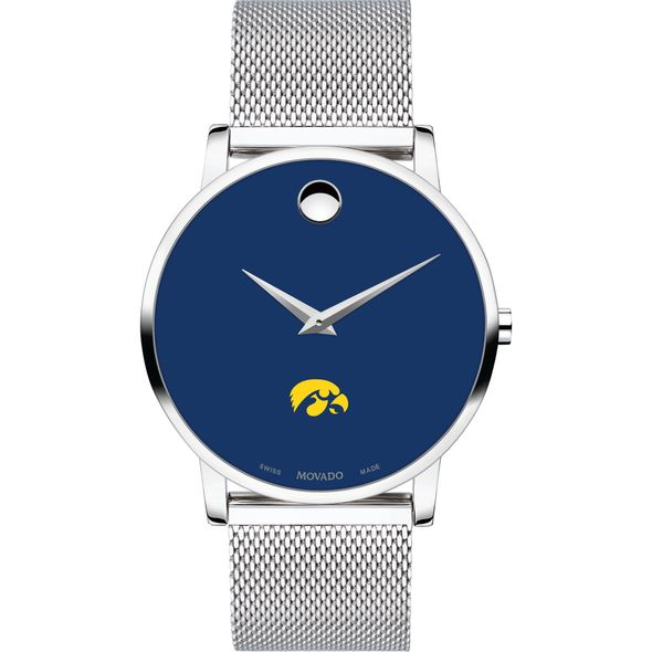 University of Iowa Men's Movado Museum with Blue Dial & Mesh Bracelet - Image 2