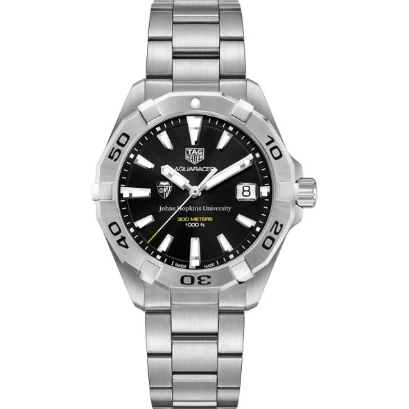 Johns Hopkins University Men's TAG Heuer Steel Aquaracer with Black Dial - Image 2