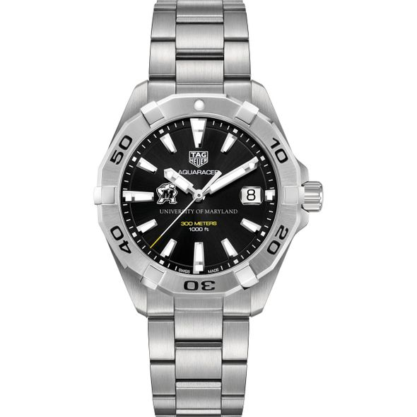 University of Maryland Men's TAG Heuer Steel Aquaracer with Black Dial - Image 2