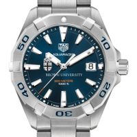 Brown Men's TAG Heuer Steel Aquaracer with Blue Dial