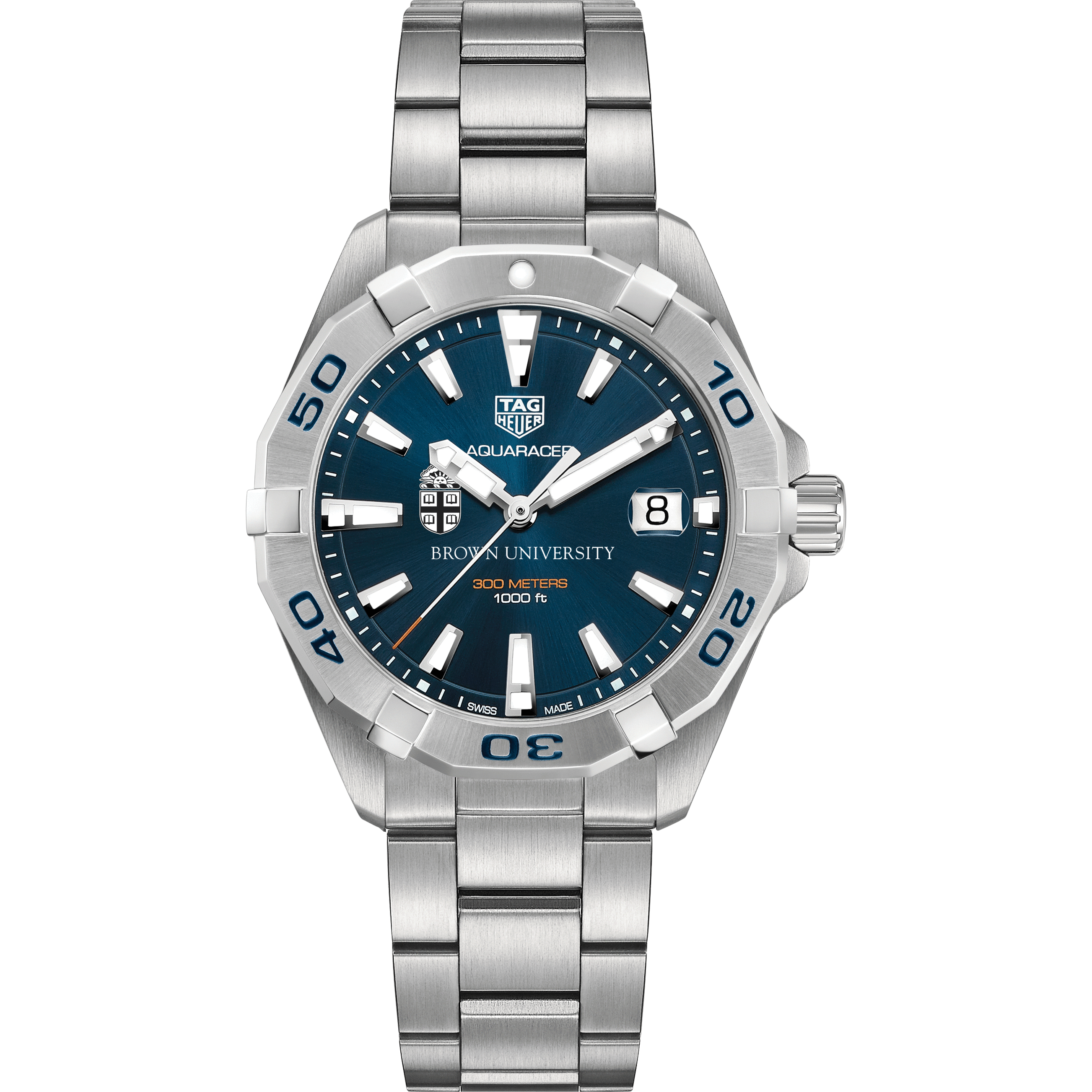 Brown Men's TAG Heuer Steel Aquaracer with Blue Dial - Image 2