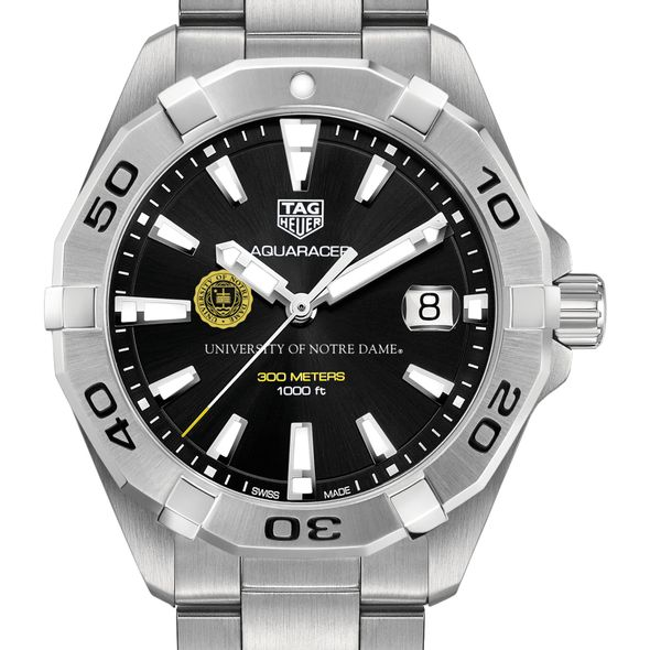 University of Notre Dame Men's TAG Heuer Steel Aquaracer with Black Dial