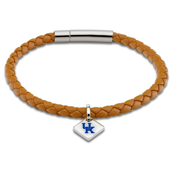 University of Kentucky Leather Bracelet with Sterling Silver Tag - Saddle