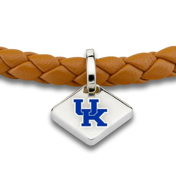 University of Kentucky Leather Bracelet with Sterling Silver Tag - Saddle - Image 2