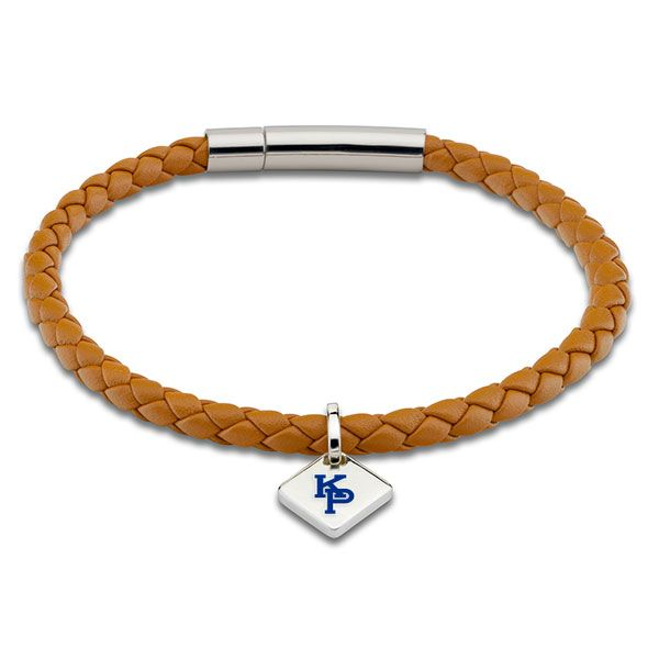 US Merchant Marine Academy Leather Bracelet with Sterling Silver Tag - Saddle