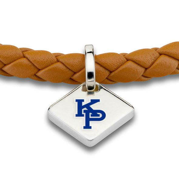 US Merchant Marine Academy Leather Bracelet with Sterling Silver Tag - Saddle - Image 2