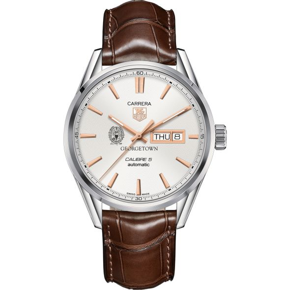 Georgetown University Men's TAG Heuer Day/Date Carrera with Silver Dial & Strap - Image 2