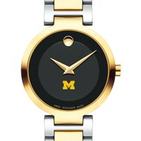 University of Michigan Women's Movado Two-Tone Modern Classic Museum with Bracelet