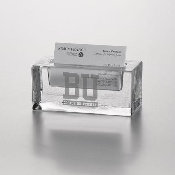 Boston University Glass Business Cardholder by Simon Pearce