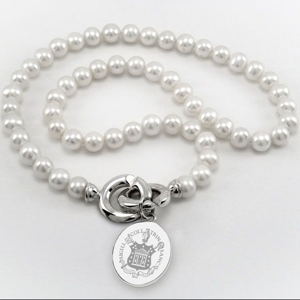 Trinity College Pearl Necklace with Sterling Silver Charm