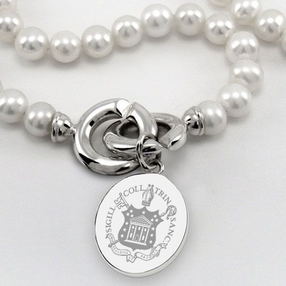 Trinity College Pearl Necklace with Sterling Silver Charm - Image 2