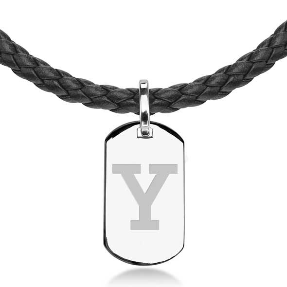 Yale University Leather Necklace with Sterling Dog Tag - Image 2