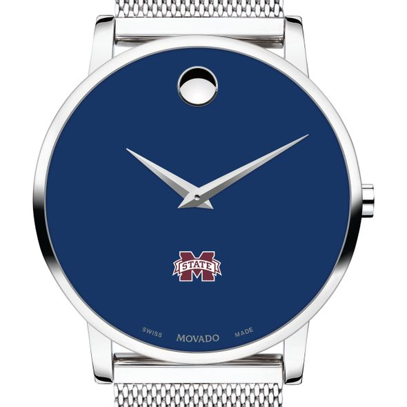 Mississippi State Men's Movado Museum with Blue Dial & Mesh Bracelet