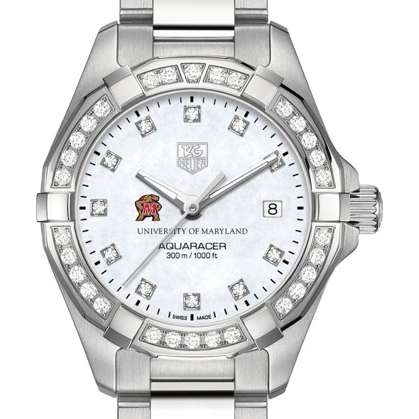 University of Maryland W's TAG Heuer Steel Aquaracer with MOP Dia Dial & Bezel