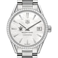 College of William & Mary Women's TAG Heuer Steel Carrera with MOP Dial & Diamond Bezel