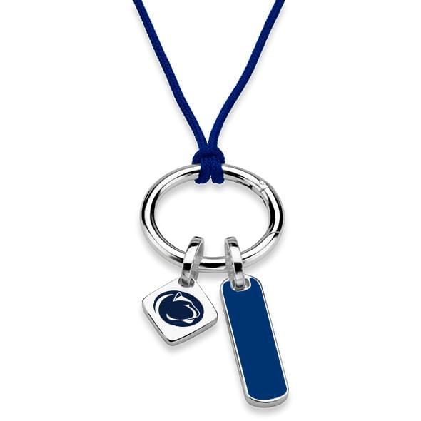 Penn State Silk Necklace with Enamel Charm & Sterling Silver Tag - Image 2