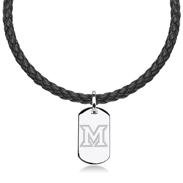 Miami University in Ohio Leather Necklace with Sterling Dog Tag
