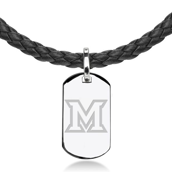 Miami University in Ohio Leather Necklace with Sterling Dog Tag - Image 2