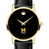 Michigan Ross Women's Movado Gold Museum Classic Leather