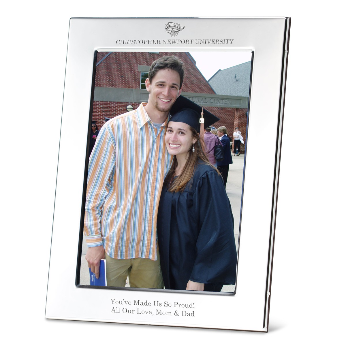 Christopher Newport University Polished Pewter 5x7 Picture Frame At M Lahart Co