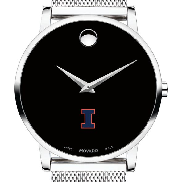 University of Illinois Men's Movado Museum with Mesh Bracelet