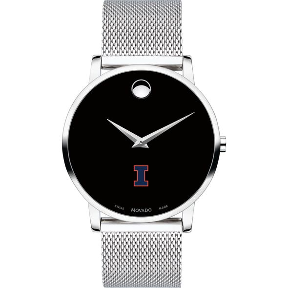 University of Illinois Men's Movado Museum with Mesh Bracelet - Image 2