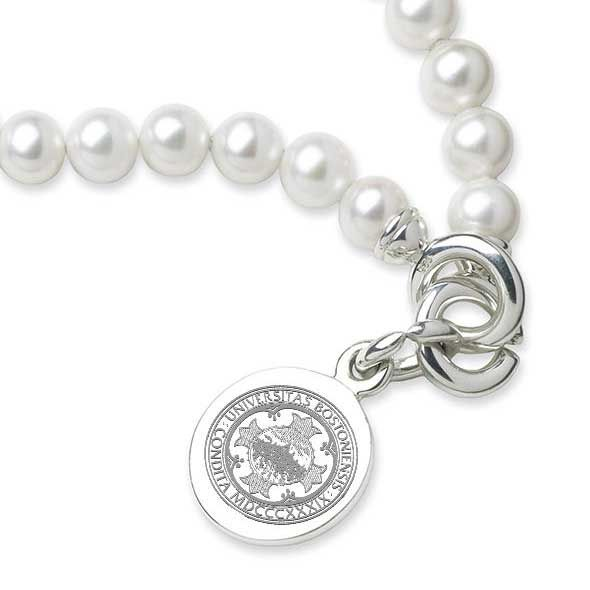 Boston University Pearl Bracelet with Sterling Silver Charm - Image 2