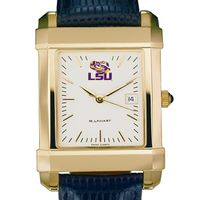 LSU Men's Gold Quad with Leather Strap