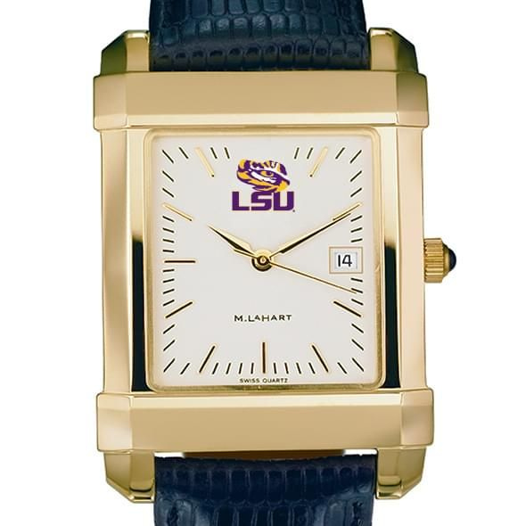 LSU Men's Gold Quad with Leather Strap - Image 1