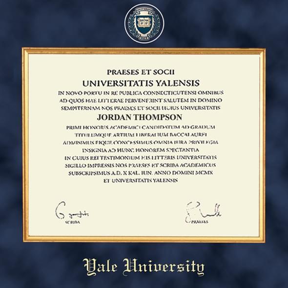 Yale University Diploma Frame Excelsior Graduation Gift