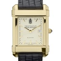 University of Arkansas Men's Gold Quad with Leather Strap
