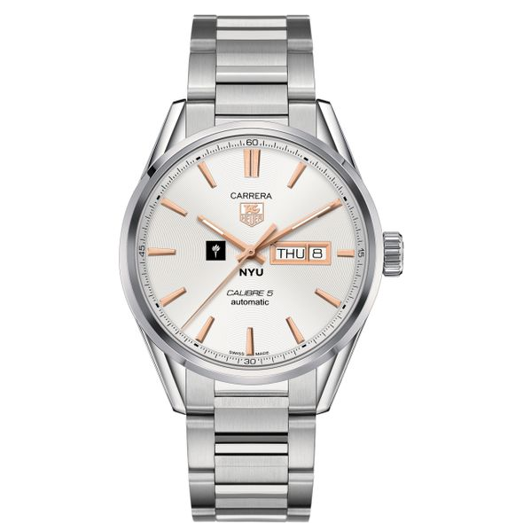 New York University Men's TAG Heuer Day/Date Carrera with Silver Dial & Bracelet - Image 2