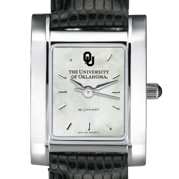 Oklahoma Women's Mother of Pearl Quad Watch with Leather Strap
