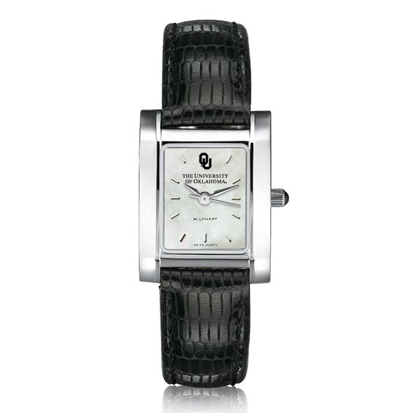 Oklahoma Women's Mother of Pearl Quad Watch with Leather Strap - Image 2