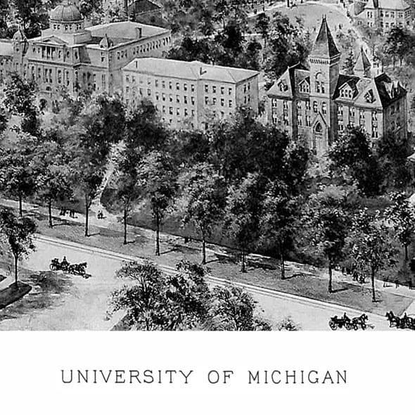 Historic University of Michigan Black and White Print - Image 2