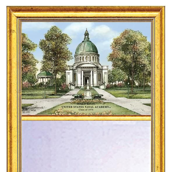 Naval Academy Eglomise Mirror with Gold Frame - Image 2