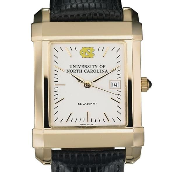 UNC Men's Gold Quad Watch with Leather Strap