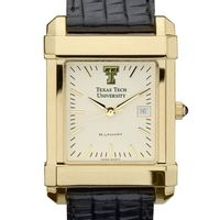 Texas Tech Men's Gold Quad with Leather Strap