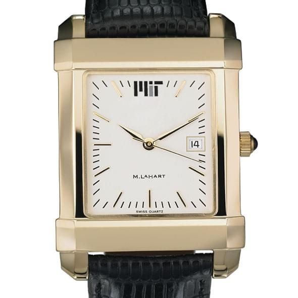 MIT Men's Gold Quad Watch with Leather Strap