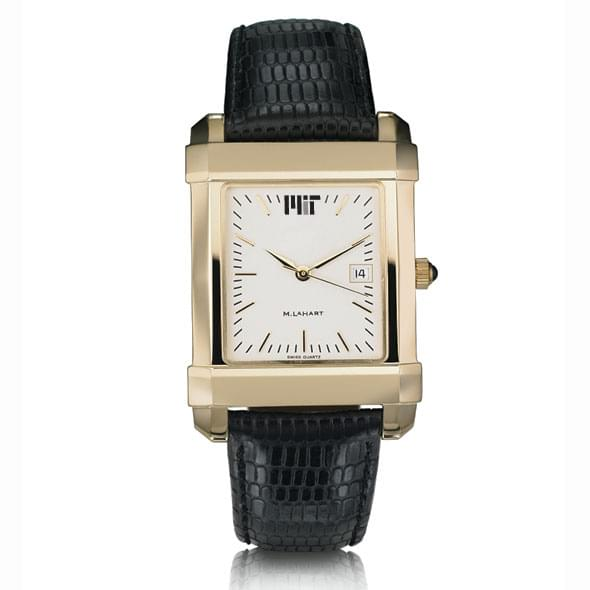 MIT Men's Gold Quad Watch with Leather Strap - Image 2