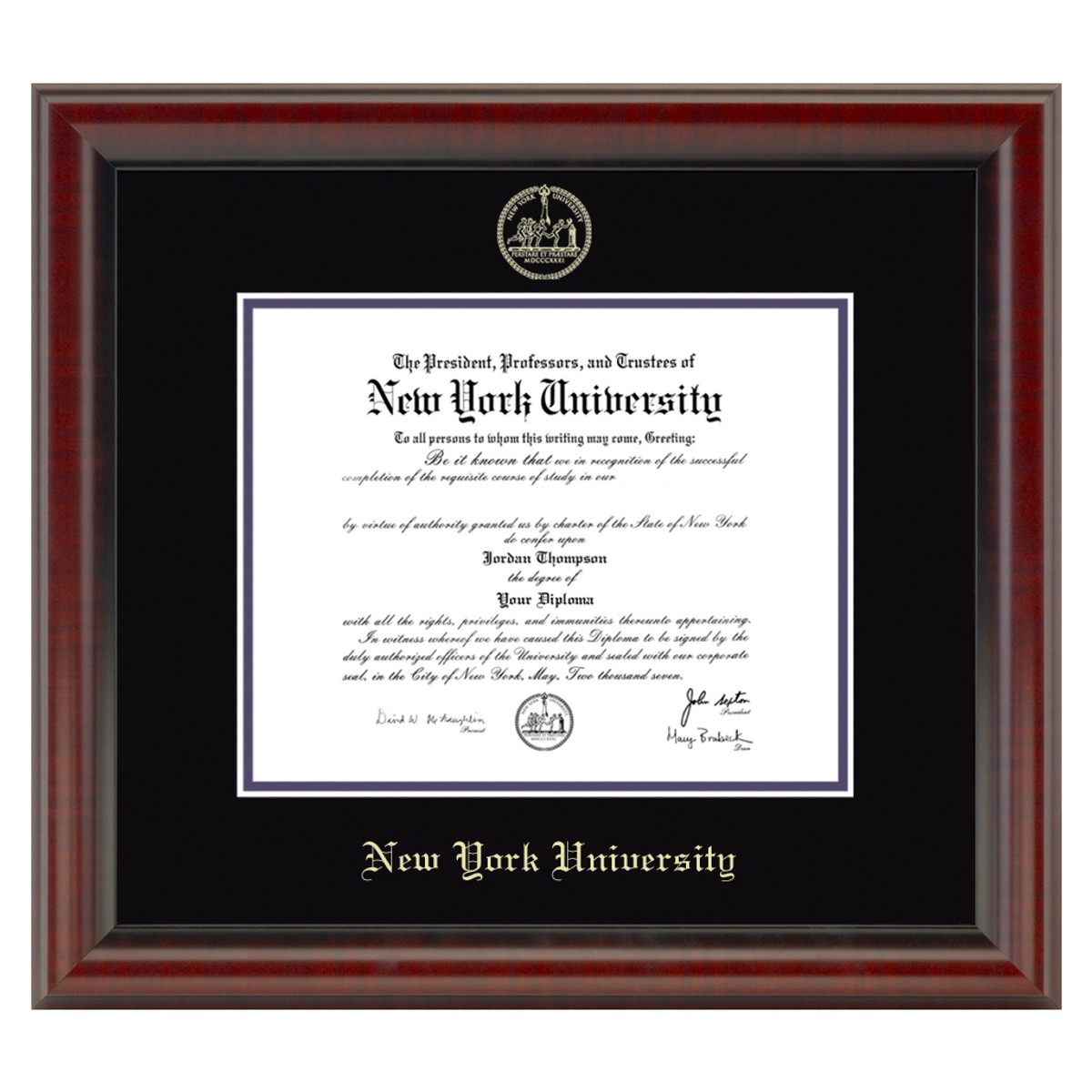 Official New York University Diploma Frame The Fidelitas