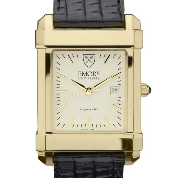 Emory Men's Gold Quad Watch with Leather Strap
