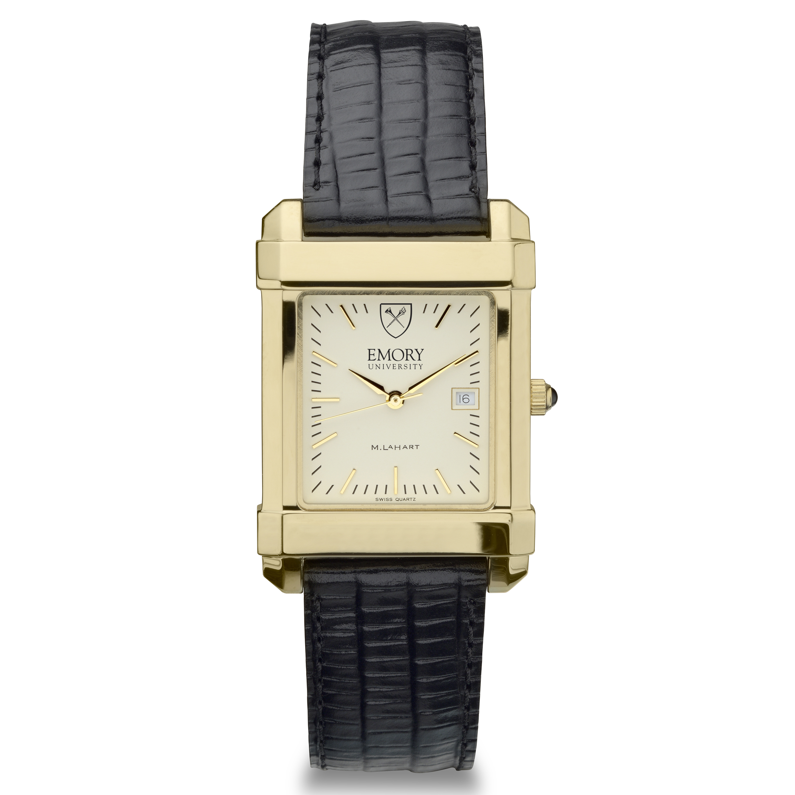 Emory Men's Gold Quad Watch with Leather Strap - Image 2