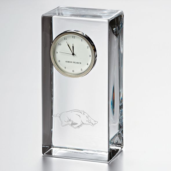 University of Arkansas Tall Glass Desk Clock by Simon Pearce