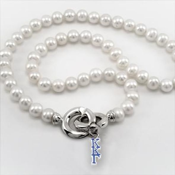 Kappa Kappa Gamma Pearl Necklace with Greek Letter Charm