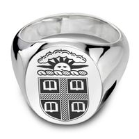 Brown Sterling Silver Oval Signet Ring