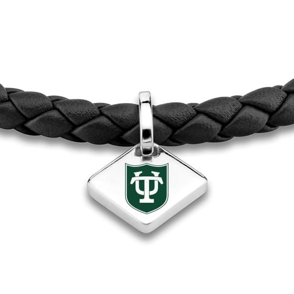 Tulane University Leather Bracelet with Sterling Silver Tag - Black - Image 2