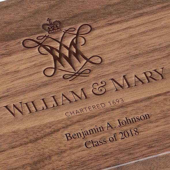 College of William & Mary Solid Walnut Desk Box - Image 3