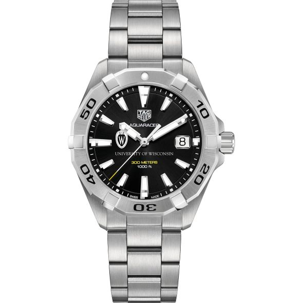 University of Wisconsin Men's TAG Heuer Steel Aquaracer with Black Dial - Image 2